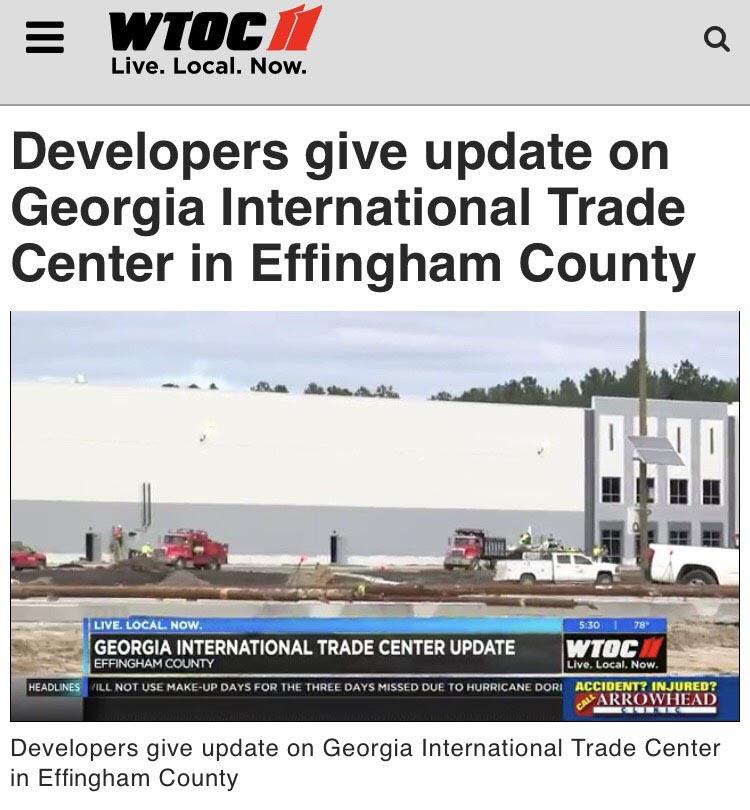 Georgia International Trade Center Update featured on WTOC News CBS Affiliate
