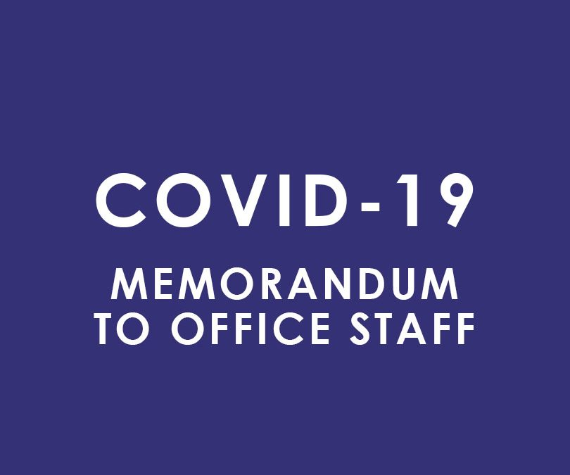 Memorandum to Office Staff regarding Coronavirus (COVID-19)